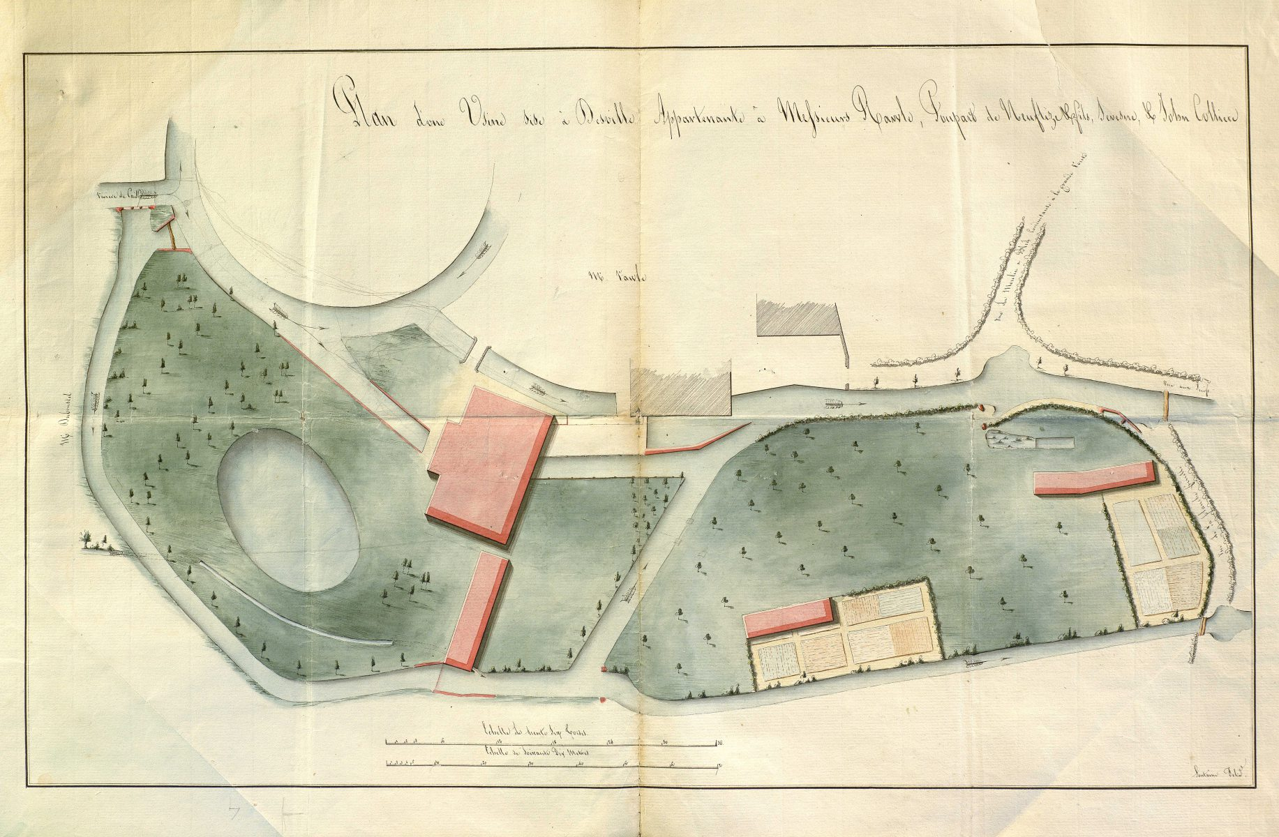 Plan of a factory in Déville owned by Messrs. Rawle, Poupard de Neuflize and son, Sevesne and John Colliere