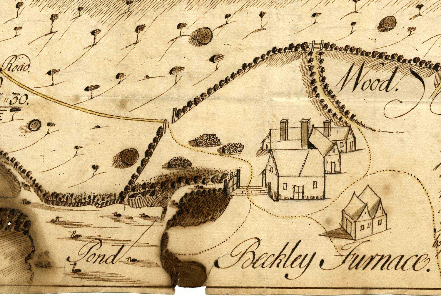 Map by Samuel Cant of a wood and land near Beckley Furnace