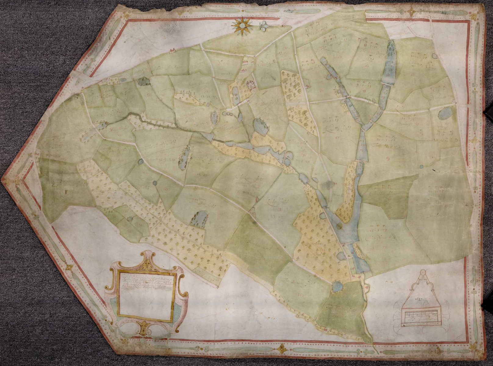 Map of Robert Wildgoose's capital messuage called Iridge in Salehurst by Ambrose Cogger