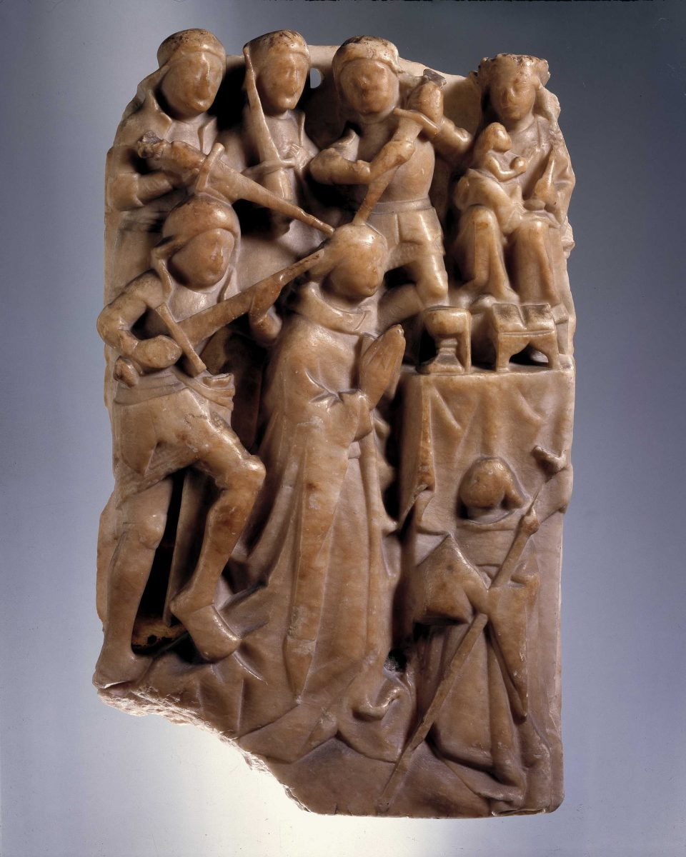 English alabaster carving depicting the murder of Saint Thomas Becket