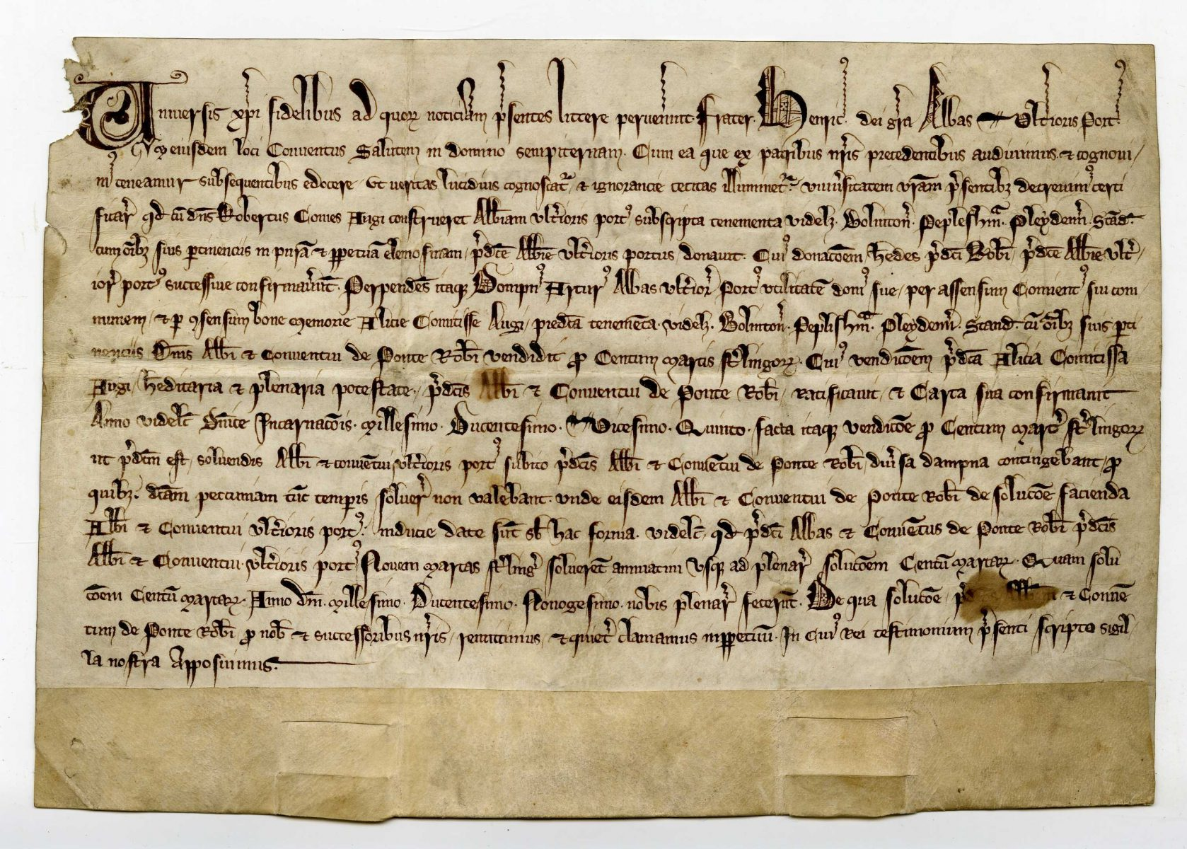 Certificate for payment by Henry abbot of Tréport to the abbot and convent of Robertsbridge