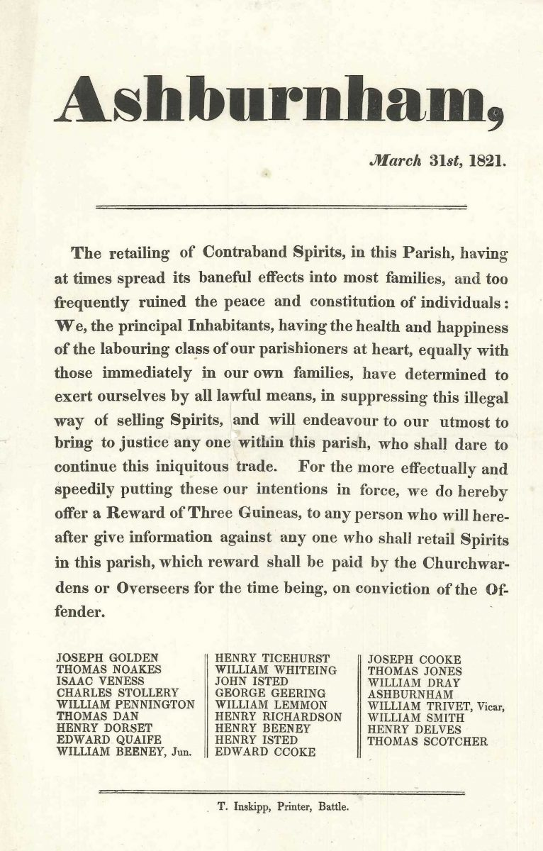Printed notice about contraband spirits