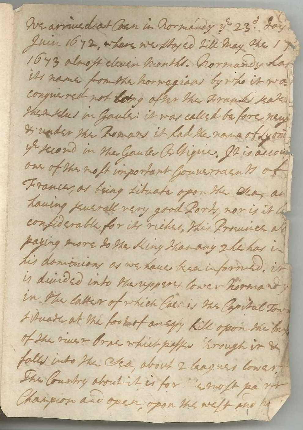 Part of diary probably kept by John Ashburnham