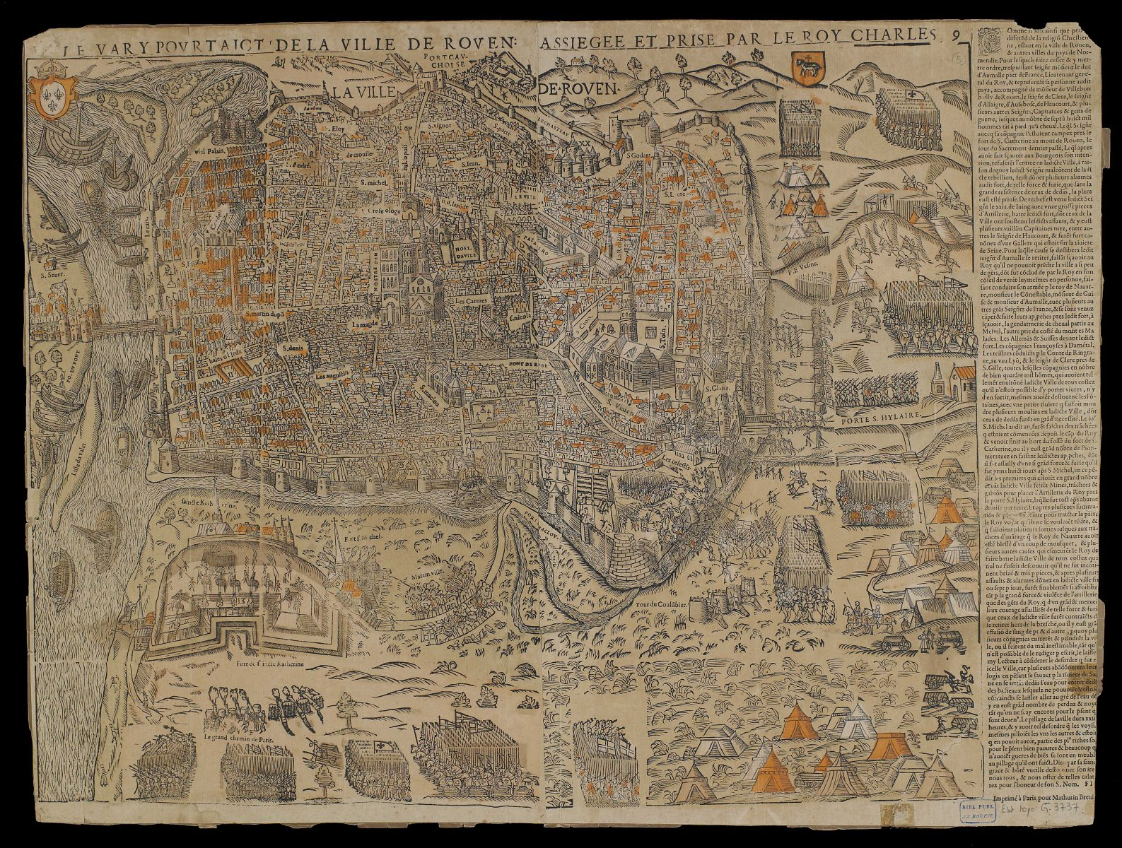 Map of Rouen besieged and taken by Charles IX