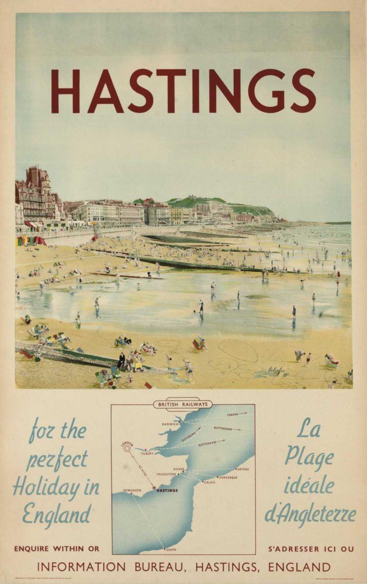 Hastings, for the perfect holiday in England, poster published by British Railways