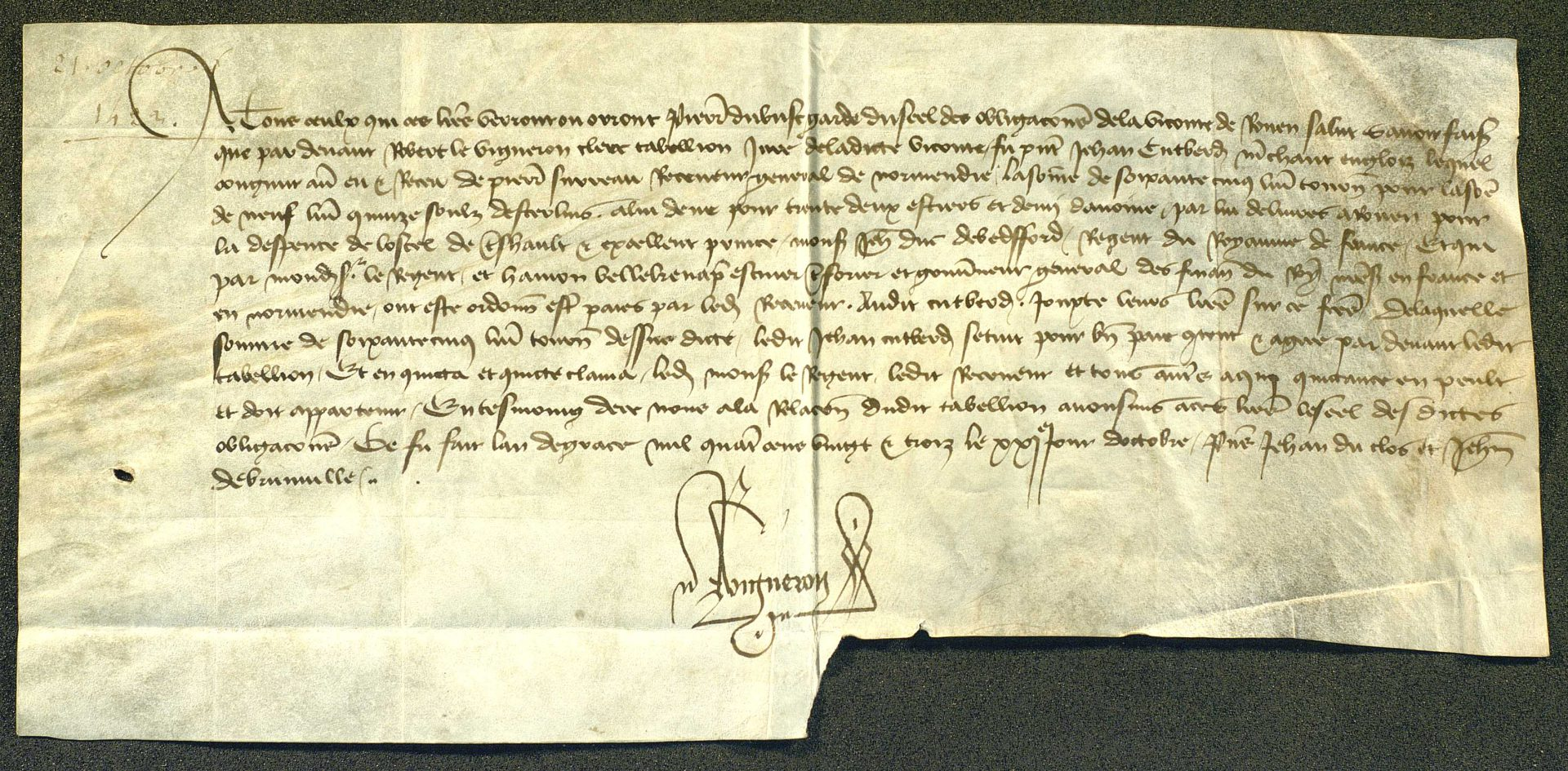 Receipt made out to John Cutberd, English merchant, by Pierre Surreau, Receiver General of Normandy, for a consignment of oats