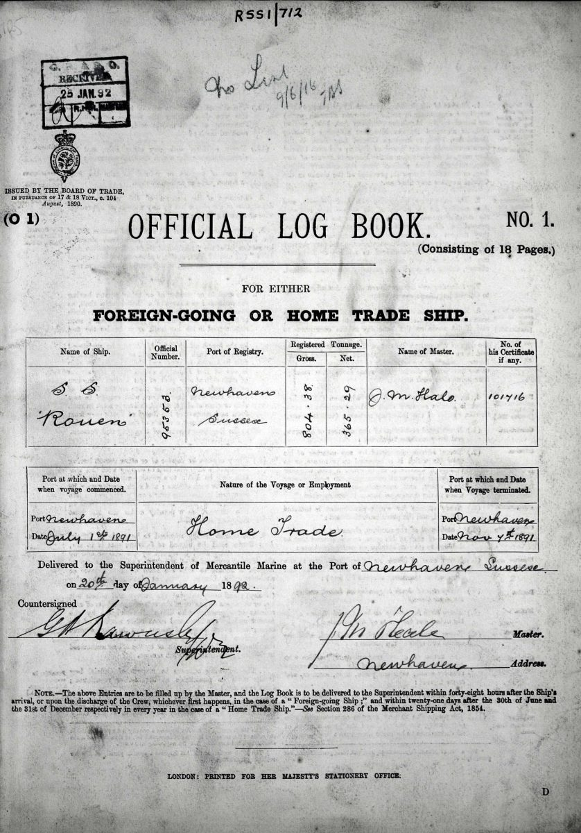 Official log book for the SS Rouen of Newhaven