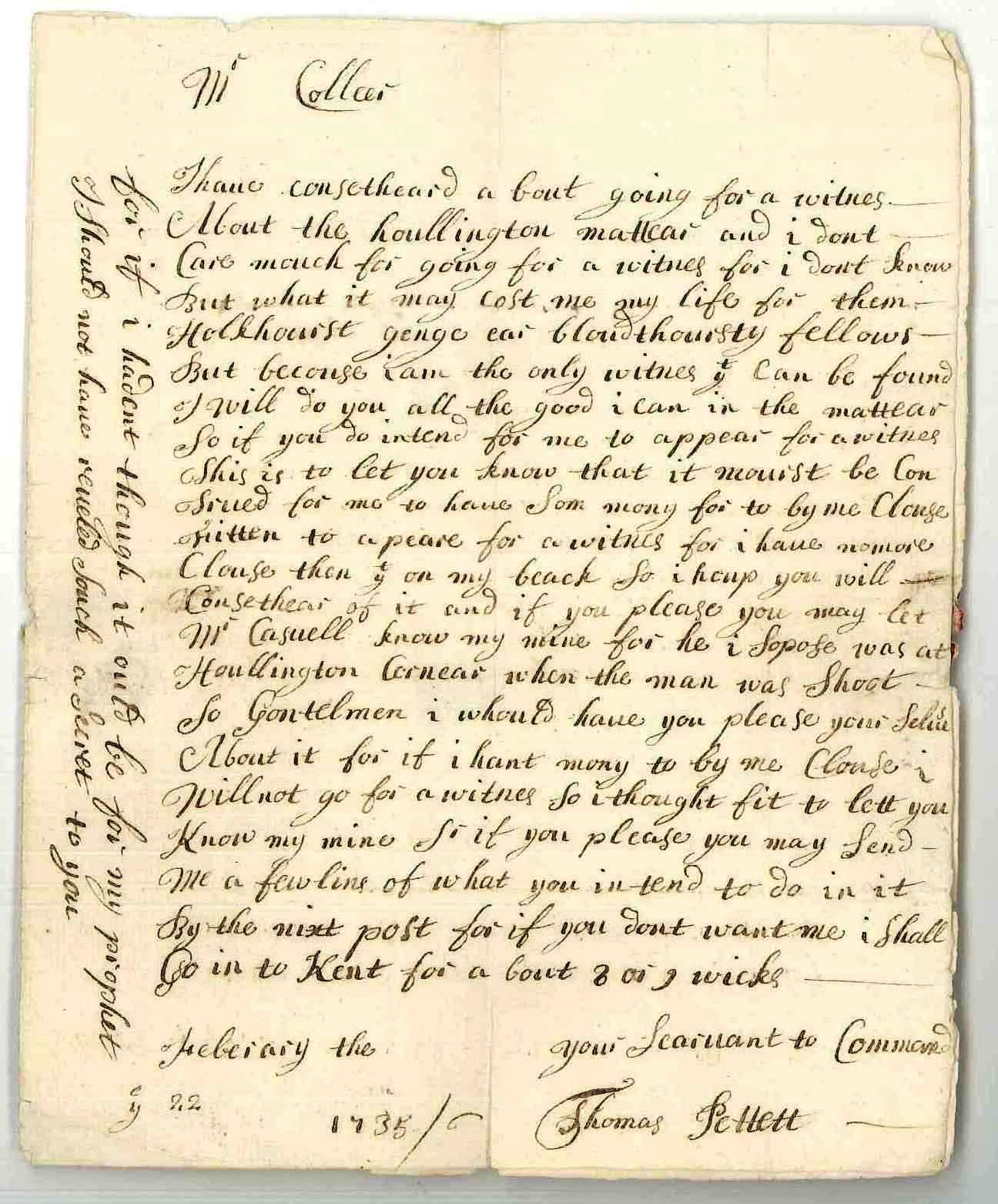 Letter from Thomas Pettet to John Collier