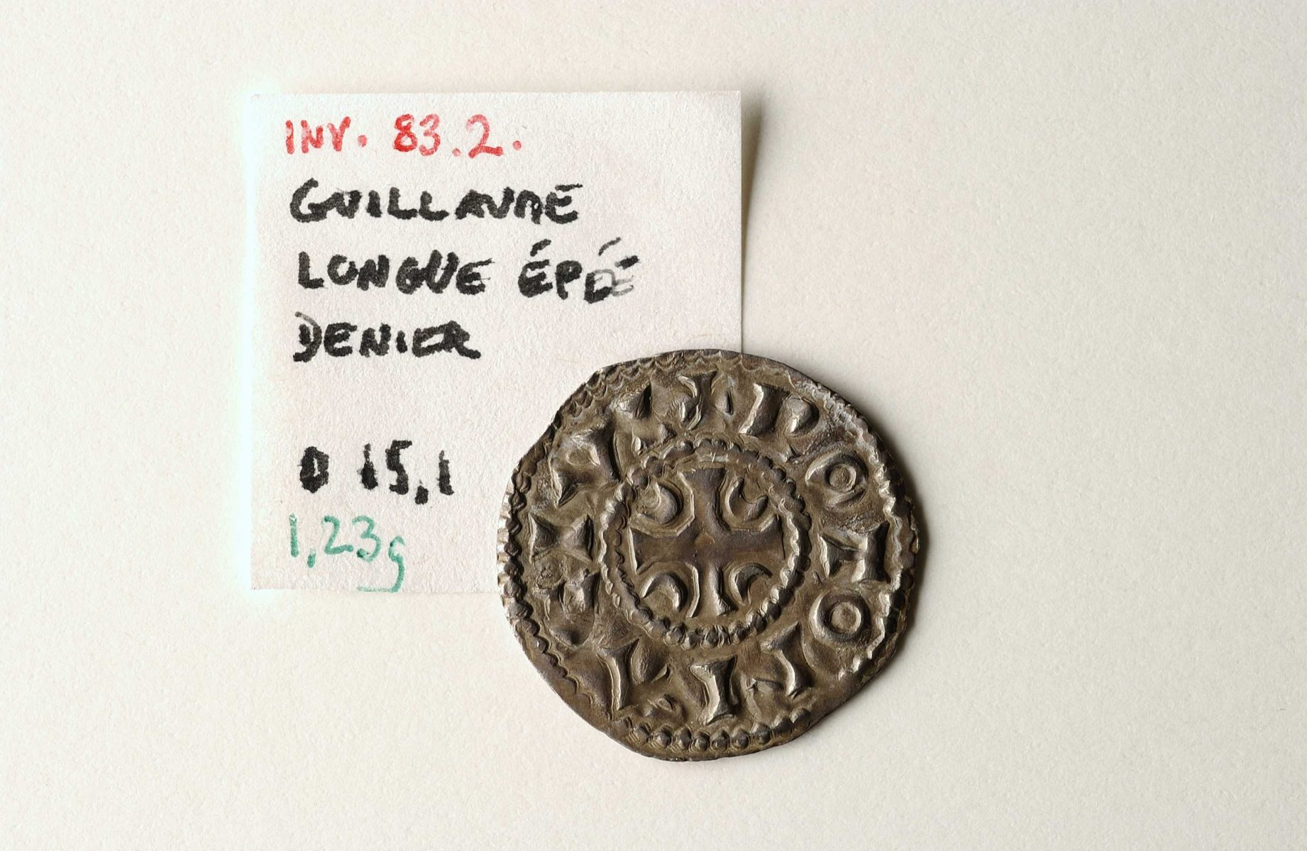 Silver coin to the effigy of Duke William Longsword