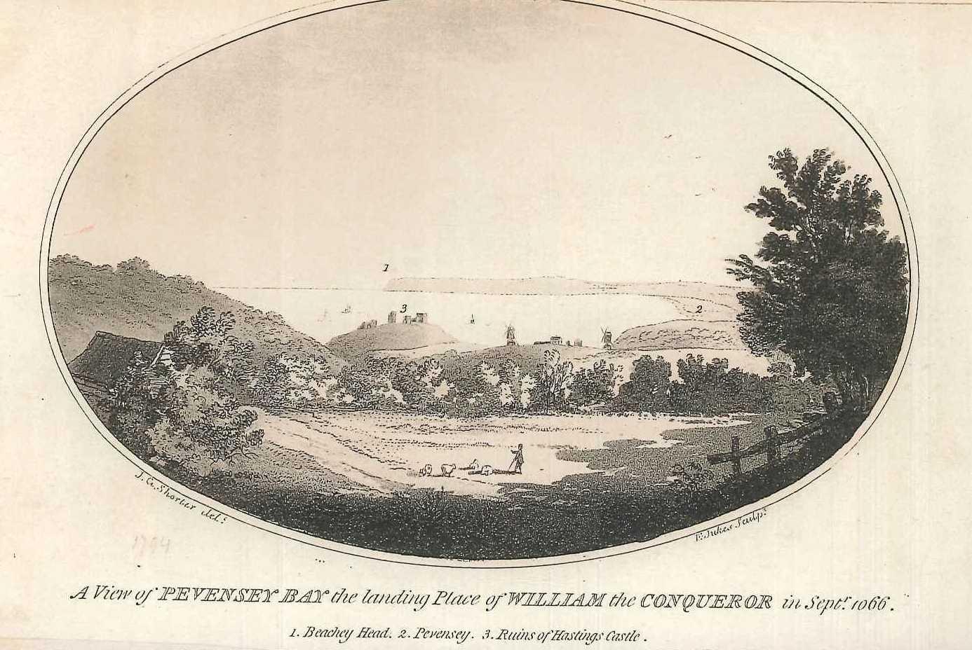 Pevensey baye, engraving by Francis Jukes