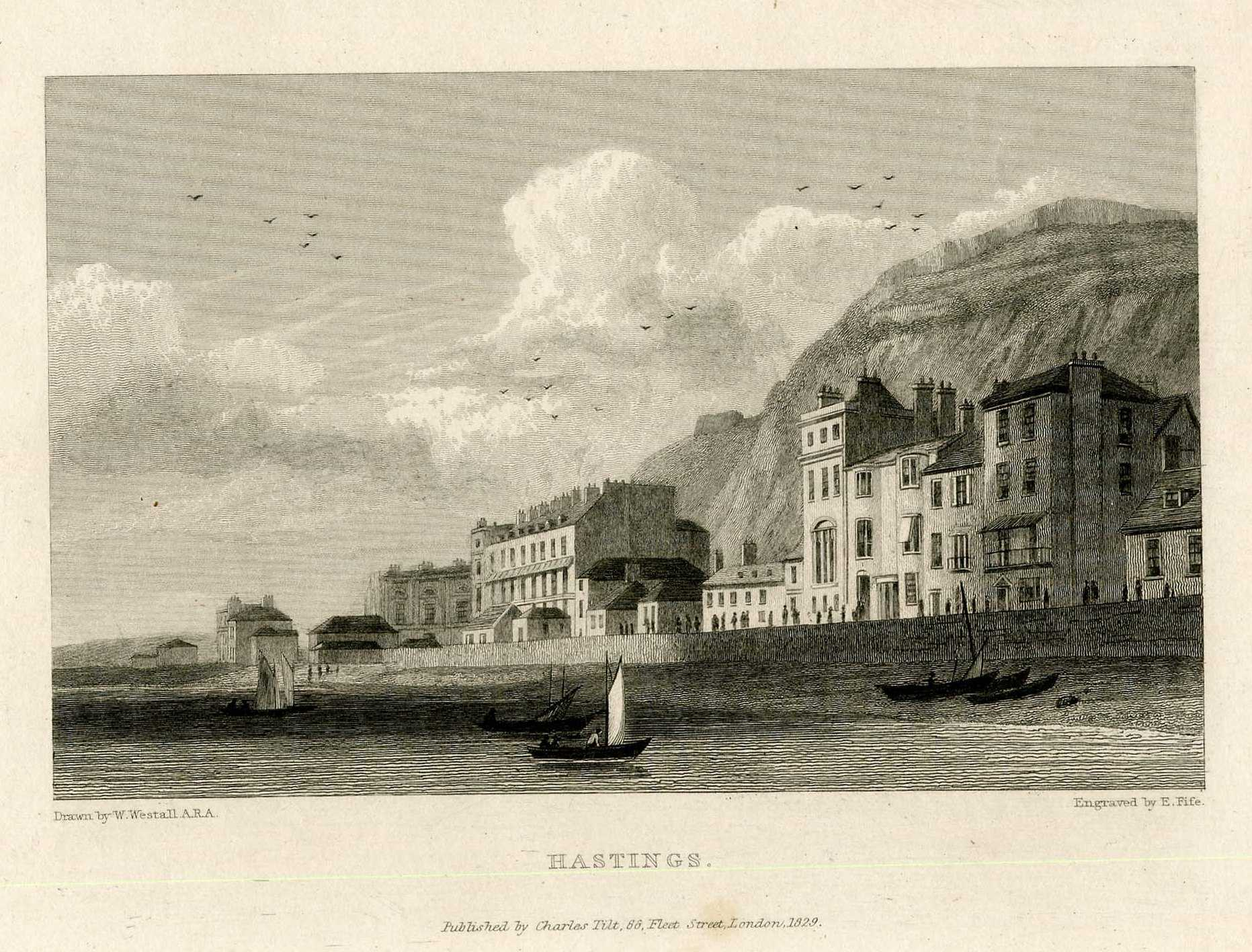 An engraving of Hastings Castle by Page