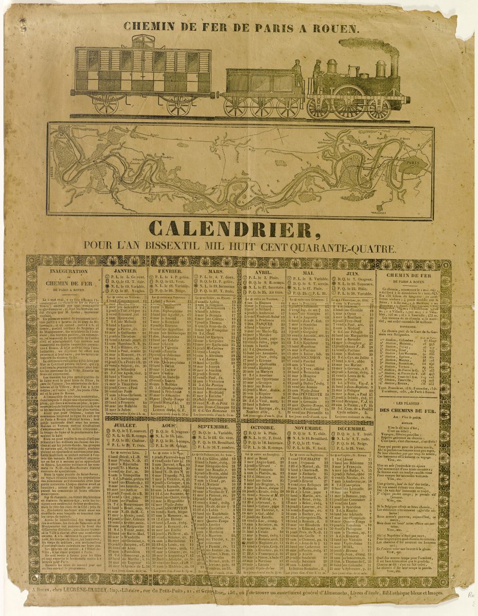 Calendar of Paris – Rouen railway